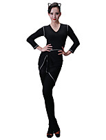 cheap -Latin Dance Dresses Women's Training Modal Split Joint Long Sleeve Natural Dress