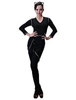 abordables -Baile Latino Vestidos Mujer Entrenamiento Modal Combinación Manga Larga Cintura Media Vestido
