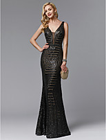 cheap -Sheath / Column V Neck Floor Length Tulle / Sequined Open Back Prom / Formal Evening Dress with Sequin by TS Couture®