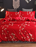 cheap -Duvet Cover Sets Chinese Red Polyster Jacquard 3 Piece