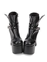 cheap -Lolita Shoes Classic Lolita Dress / Punk Lolita Dress Punk / Gothic Chunky Heel Shoes Solid Colored 12.5 cm CM Black For PU(Polyurethane)