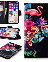 cheap -Case For Apple iPhone X / iPhone 8 Plus Wallet / Card Holder / with Stand Full Body Cases Flamingo Hard PU Leather for iPhone X / iPhone 8 Plus / iPhone 8