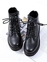 cheap -Women's Shoes PU(Polyurethane) Fall & Winter Fashion Boots Boots Walking Shoes Flat Heel Round Toe Booties / Ankle Boots Black