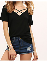 cheap -women's going out cotton t-shirt - solid colored v neck