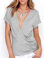 cheap -women's cotton t-shirt - solid colored deep v