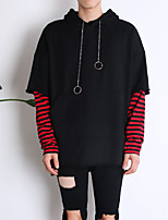 cheap -Men's Long Sleeve Hoodie - Striped / Color Block / Camouflage Hooded