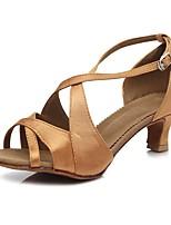 cheap -Women's Salsa Shoes Satin Sandal / Heel Buckle Slim High Heel Customizable Dance Shoes Brown