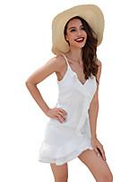 preiswerte -Damen Boho Chiffon Kleid - Spitze, Solide Mini