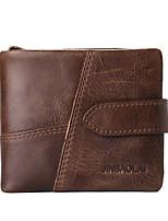 cheap -Men's Bags Nappa Leather Wallet Zipper Coffee / Dark Brown
