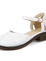 economico -Per donna Scarpe PU (Poliuretano) Primavera estate Comoda / Decolleté Tacchi Heel di blocco Punta tonda Fibbia Bianco / Rosa / Tessuto