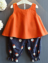 cheap -Toddler Girls' Solid Colored / Print Sleeveless Clothing Set