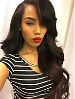 cheap -Remy Human Hair Full Lace Wig Brazilian Hair Wavy Layered Haircut 130% Density Natural Hairline / 100% Hand Tied / With Bangs Black Women's Short / Long / Mid Length Human Hair Lace Wig