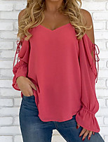 cheap -Women's Basic / Street chic T-shirt - Solid Colored Backless / Lace up