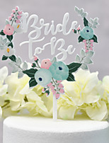 cheap -Cake Topper Classic Theme / Wedding Cut Out Acryic / Polyester Wedding with Sided Hollow Out 1 pcs PVC Box