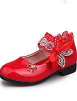 cheap -Girls' Shoes PU(Polyurethane) Spring & Summer Comfort / Flower Girl Shoes Flats Walking Shoes Bowknot / Sparkling Glitter / Side Draping for Teenager Fuchsia / Red / Pink