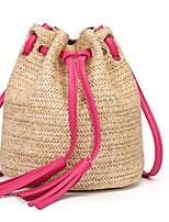 cheap -Women's Bags Straw Shoulder Bag Tassel Blushing Pink / Fuchsia / Brown