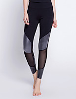 abordables -Femme Pantalon de yoga / Leggings en Maille - Noir / Argent, Bleu Marine Des sports Spandex Collants Exercice & Fitness Tenues de Sport