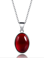 cheap -Women's Onyx Pendant Necklace - S925 Sterling Silver Princess Korean, Sweet Wine 2 cm Necklace 1pc For Wedding, Daily