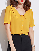 cheap -women's blouse - solid colored v neck