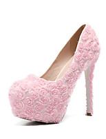 abordables -Femme Chaussures Polyuréthane Printemps été Escarpin Basique Chaussures de mariage Talon Aiguille Bout rond Fleur en Satin Blanc / Rose