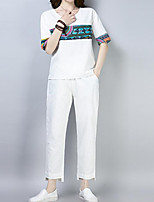 abordables -Mujer Vintage / Tejido Oriental Conjunto - Un Color / A Cuadros Pantalón