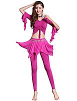 abordables -Danza del Vientre Accesorios Mujer Entrenamiento Modal Combinación / Banda Media Manga Cintura Baja Top / Pantalones