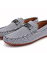 cheap -Men's Shoes Canvas / Cotton Fall Moccasin Loafers & Slip-Ons Black / Red / Striped