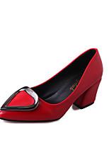 Недорогие -Жен. Обувь Полиуретан Лето Туфли лодочки Обувь на каблуках На толстом каблуке Заостренный носок Пряжки Черный / Темно-серый / Красный