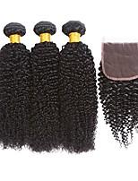 Недорогие -3 комплекта с закрытием Индийские волосы Кудрявый Натуральные волосы Человека ткет Волосы / Удлинитель / Волосы Уток с закрытием 8-22 дюймовый Ткет человеческих волос 4x4 Закрытие