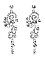 cheap -Women's Cubic Zirconia Long Drop Earrings - Sterling Silver Drop, Flower Classic, Elegant Silver For Wedding / Evening Party