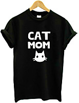 cheap -women's t-shirt - animal / letter round neck