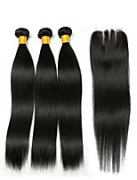 cheap -Brazilian Hair Straight Natural Color Hair Weaves / Human Hair Extensions / Hair Weft with Closure 3 Bundles With  Closure 8-22 inch Human Hair Weaves 4x4 Closure Best Quality / Hot Sale / For Black
