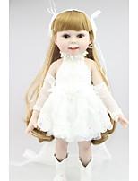 Недорогие -NPKCOLLECTION Модная кукла Девушка из провинции 18 дюймовый Полный силикон для тела / Винил - Искусственная имплантация Коричневые глаза Детские Девочки Подарок
