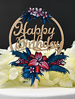 cheap -Cake Topper Classic Theme / Wedding Cut Out Wooden / Bamboo Birthday with Acrylic 1 pcs PVC Box