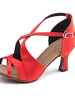 cheap -Women's Latin Shoes Satin Sandal / Heel Buckle Slim High Heel Customizable Dance Shoes Red
