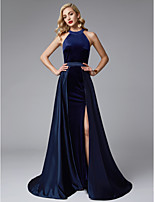 cheap -A-Line Jewel Neck Sweep / Brush Train Satin / Velvet Prom / Formal Evening Dress with Split Front by TS Couture® / Two Piece