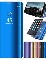 Недорогие -Кейс для Назначение Apple iPhone X / iPhone 8 со стендом / Покрытие / Зеркальная поверхность Чехол Однотонный Твердый Кожа PU для iPhone X / iPhone 8 Pluss / iPhone 8