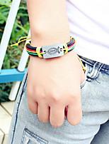 abordables -Homme Tressé Bracelet à maillons fait main - Cuir Poissons Branché, Décontracté / Sport, Mode Bracelet Arc-en-ciel / Marron Pour Quotidien / Sortie