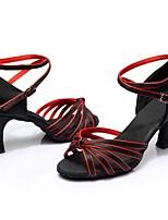 """Недорогие -Жен. Обувь для латины Сатин Сандалии / На каблуках Планка Каблук """"Клеш"""" Персонализируемая Танцевальная обувь Черный / Красный"""