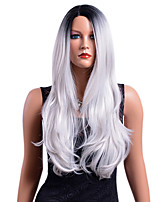 cheap -Synthetic Wig Wavy Middle Part Synthetic Hair Party / Synthetic / Ombre Hair Gray / Ombre Wig Women's Long Capless / African American Wig / Yes / For Black Women