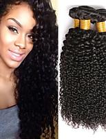 Недорогие -4 Связки Малазийские волосы Kinky Curly Натуральные волосы Человека ткет Волосы / Удлинитель / Накладки из натуральных волос 8-28 дюймовый Черный Естественный цвет Ткет человеческих волос