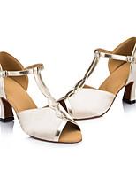 Недорогие -Жен. Обувь для латины Шёлк Кроссовки Толстая каблук Танцевальная обувь Бежевый