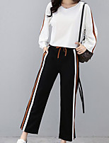 abordables -Mujer Tallas Grandes Activo Manga Farol Algodón Conjunto - Un Color, Plisado Pantalón