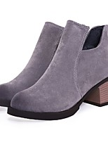 cheap -Women's Shoes Suede Fall & Winter Comfort Boots Chunky Heel Black / Gray / Dark Brown