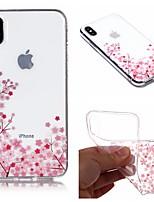 Недорогие -Кейс для Назначение Apple iPhone X / iPhone 8 Plus IMD / Прозрачный / С узором Кейс на заднюю панель Цветы Мягкий ТПУ для iPhone X / iPhone 8 Pluss / iPhone 8