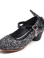 cheap -Girls' Shoes PU(Polyurethane) Spring / Fall Flower Girl Shoes Heels Bowknot / Sequin for Kids Black / Silver / Pink