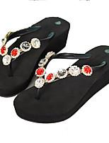 cheap -Women's Shoes PU(Polyurethane) Spring & Summer T-Strap Slippers & Flip-Flops Wedge Heel Open Toe Rhinestone / Beading Black / Dark Grey / Wine