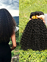 cheap -3 Bundles Indian Hair Kinky Curly Unprocessed Human Hair / Human Hair Gifts / Cosplay Suits / Natural Color Hair Weaves / Hair Bulk 8-28 inch Natural Color Human Hair Weaves Creative / Soft / Thick