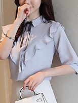 Недорогие -Жен. На выход / Офис Блуза Рубашечный воротник Однотонный