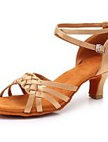 Недорогие -Жен. Обувь для латины Сатин На каблуках Кубинский каблук Персонализируемая Танцевальная обувь Телесный